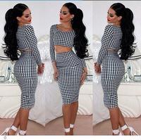 conjunto saia e blusa autumn winter roupas femininas Houndstooth Long-sleeve crop top Skirt Set LC6722 dear-lover