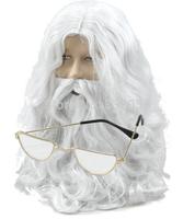 Free Shipping Santa Claus Father Christmas Wig, Beard, Moustache, Half Moon Glasses Costume