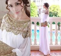 2014 Bling Bling Chiffon Evening Dresses Beaded Rhinestones Embellished Long Sleeve Dubai Arabic Dresses Elegant ZY1152