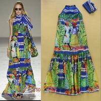 Stunning !  2015 Spring & Summer Runway Fashion Dress Women's Sleevelss Fancy Ethnic Printed With Scarf Resort Halter Dress