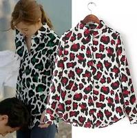 2015 European Style Women Shirt Leopard Graffiti Turn-down Collar Long Sleeve Spring Autumn Famous Brand Tops Blouse CL2300
