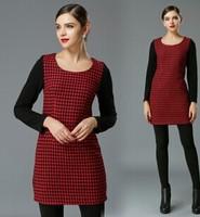 XL-5XL 2015 Brand Ladies Plaid Print Patchwork Long Sleeve Casual Dresses Autumn Winter New Fashion plus Size Women Clothing