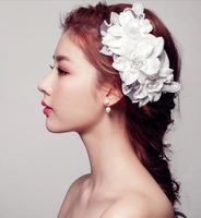 Hair Accessories Bridal Accessories Handwork White Lace Pearl Hair Band Headdress Flower Bride Hair Accessories 12Pcs/Lot