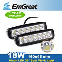 2* 18W Spot Beam LED Light Bar LED Work Light Bar Offroad Driving Lamp Boat Car SUV UTE ATV 4WD 12V/24 P0017942