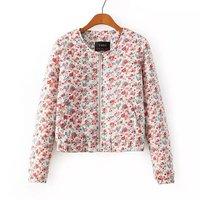 Popular New Flowers Pattern Girl Cotton Coats Long Sleeve O Neck Women Sweet Jackets NAS3895