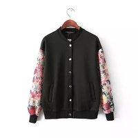 Stylish Popular Print Sleeve Girl Baseball Coats with Pockets Standard Collar Women Casual Jackets NAS8553