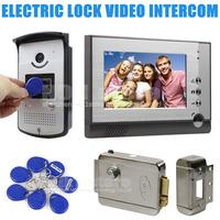 Electric Lock 7 inch Color Video Door Phone Visual Intercom Doorbell Card Key Reader RFID IR Night Vision Camera Wholesale