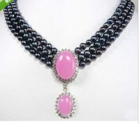 3Rows 6-7mm Black Pearl & Pink Jade Pendant Necklace long necklace fine jewelry