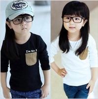 2014 Children T Shirts Long Sleeve Girls And Boys Pocket T-Shirts,Spring Autumn Kids Girl  Children T Shirt Kids Tops Tees