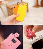 1Pcs Fashion Cute Korea cartoon Animal earphone dust cap headphones Jack plugs for iphone 6 plus for iphone 5s 4s