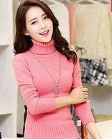 2014 new autumn and winter high-necked sweater hedging thicker women Korean Slim warm knitted sweater 00110