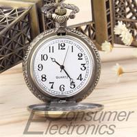 1Pc Antique Retro Bronze Vintage Pattern Pendant Chain Quartz Pocket Watch Men Women Gifts