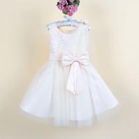 2015 new fashion flower girl lace party dress kids wedding dress 2-8 years