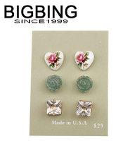 BigBing  jewelry fashion  heart pearl crystal flower 3 pairs bead stud earring high quality  nickel free Q669