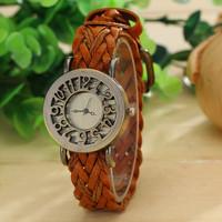 6 Colors New Fashion Vintage Cow Leather Bracelet Watches Weave Men/ Women Dress Watches quartz watches AW-SB-1277