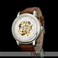 Silver Vintage Men's Mechanical Skeleton Hand Wind Watch Men New 2015