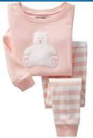 Children's Baby pajamas baby girls  Pyjamas suits Kids pjs embroider Bear Design kids pyjamas shirts+ striped pants