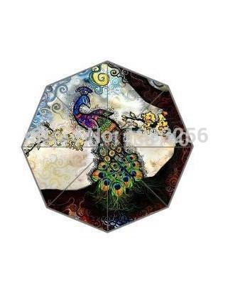 Customized Rain Sunny Umbrella Chinese Painting Of Peacock Printed 43.5 inch Good 3 Foldable Umbrella(China (Mainland))