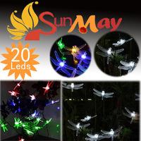 Good Quality,Dragonflies Solar string lights 20 LEDs Mix colour,LED light,Party Decoration Christmas light garden light