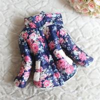 Retail hot sale girls autumn winter fashion floral printed kids warm jackets blue pink 1015