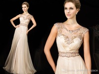 Champagne Chiffon A Line Beaded Lace Prom Dresses 2014 Special Occasion Dresses Free Shipping Vestidos De Fiesta ZY1141