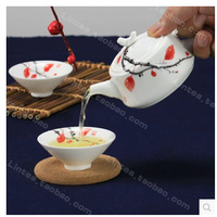 Jingdezhen hand-painted Qinghua Kung Fu tea set special creative wedding tea cup ceramic pot drinkware tableware