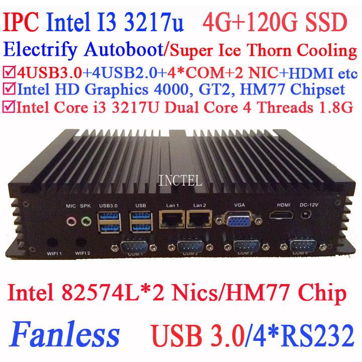 Dual core Mini PC I3 dual Intel 82574L Nics HM77 4 USB 3.0 4 COM 4G RAM 120G SSD WIN7 WIN8 LINUX free drive NAS Free 7 24 hours(China (Mainland))