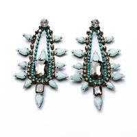 new 2014 design elegant luxury rhinestone water drop blue stone earrings for women fashion jewelry length 10cm