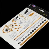 Free Shipping Cheapest Silver Flash Tattoo Feather Necklace Hamsa Gold Tattoo Arabic Temporary Tattoo Men Casual Women Tattoo
