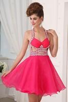 2014 New Sexy Fshion Beach Beading Halter Off the Shoulder Sleeveless Organza Dresses ZY1139