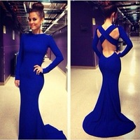 2014 Sexy robe de soiree High Neck Long Sleeve Criss Cross Backless Royal Blue Evening Gown Sexy Mermaid Prom Dresses  ZY1137