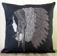 H483 Black White Linen Printing Cushion Cover Pillow Case Indian Girl Decorative cushion pillow Home Decor Wedding Birthday Gift