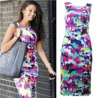Hot sale !  Fasion women Sleeveless o-neck Bodycon Pencil Dress Multi Printed Sundress plus size xs-xxl