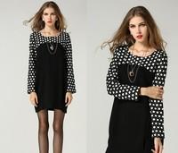 2015 plus size L-5XL black Elegant embroidery dot patchwork women winter dress causal dress fashion work dress women clothing