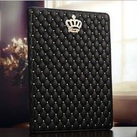 Luxury Bling Diamond Rhinestone Crown Rivets Grid Lambskin Flip Stand Leather Case Smart Cover For Apple ipad mini 2 3 4 Air Bag