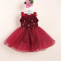 9 color high quality princess baby girl sleeveless flower lace tutu party dress with big bows