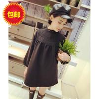 Free shipping spring/autumn  maternity clothing cotton-padded twist loose one-piece dress maternity clothing Black/white fashion