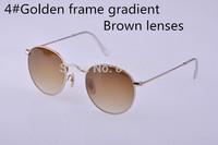 2015 new fashion VINTAGE sunglasses women brand designer men eyewear round rb 3447 gold metal brown gradient 50mm