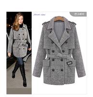 2014 winter European fashion women double breasted coats wool jacket women warm coat plus sizes grey colors snow flakes pattern