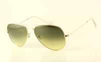 New Style Designer Metal Sunglass Men's/Woman's Fashion 3025-001/2F Gold Sunglass Green Gradient Lens 58mm Case