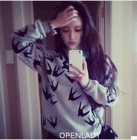 New 2014 Autumn Winter Women Full Sleeve O-neck Bamboo Printed Casual t-shirt Tops women Sweater 630