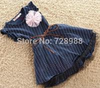 girl dress summer  2014 the new black simple but elegant white dot pink corsage + belt 3 to 7 princess dress free shipping