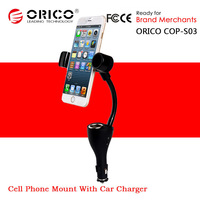"""ORICO COP-S03 Multifunction 3.5""""-6.3"""" Mobile Phone Tablets Holder Mounts With Double 2A USB Car Charger"""