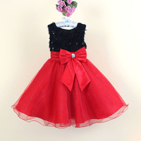 rose flower children girl sleeveless lace party dress kids tutu dress 2-8 years