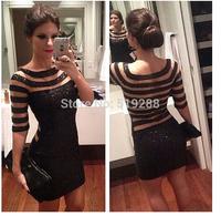 Hot Sale New Classic Woman Sequined Black Strip Sheath Formal Dress Sexy Club Dress S M L XL Size Free Shipping
