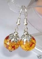 Tibet Silver Amber Dangle Earring