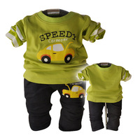 1 Set/Lot Spring Autumn Baby Clothing Boys Sets Cartoon Cars Pattern Long Sleeve T shirt +Pants 2Pcs Baby Boy Clothes