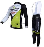 Free shipping! Merida 2014 #3 Winter long sleeve clothes cycling jersey+bib pants bike bicycle thermal fleeced wear set
