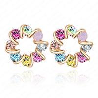 Wholesale Colourful Crystal Earrings 18K  Gold Plate Fashion Stud Earrings Jewelry 19*19mm ER0080-C