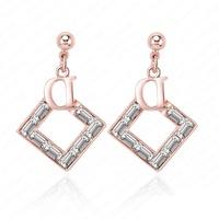 Trendy Fashion Stud Earrings 18K Gold Plate Austrian Crystal letter Earrings 19*29mm ER0077-C